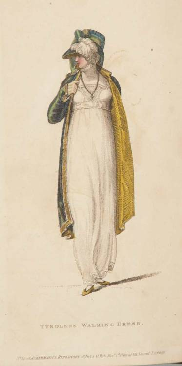 Ackermann's Repository, Walking Dress, December 1809.  What a nice pelisse!  The color is so gorgeous, especially paired with the yellow lining (and matching bonnet!  Yay!).