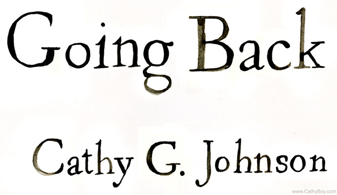Here's the hand-painted type for the cover of my new book art piece, Going Back. The final cover will be screenprinted, so these only play a small role, but I wanted to give them their due. Maybe you'll find them interesting; where my hand-drawn type nerds at?