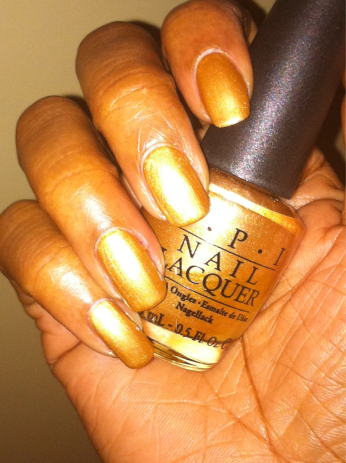 OPI Golden Rules! Season: S/S 2007 Shade: Gilded Antique Gold Formula: Shimmer Top Coat: CND Air Dry