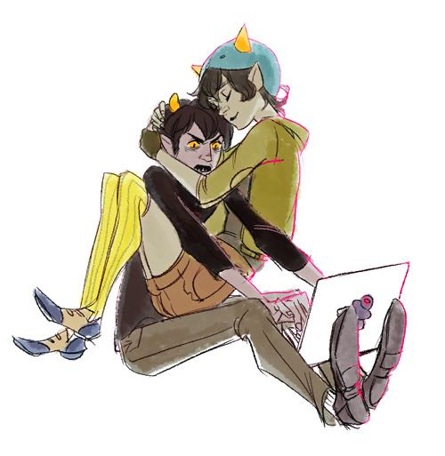 Anonymous asked:  Requests? How about KarNep? <3  Nepeta curling up with Karkat while Karkat struggles with a Grubbook Pro