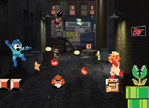 insanelygaming:  Ultimate Street Brawl: Mega Man vs. Super Mario Bros. - by Blik Surface Graphics