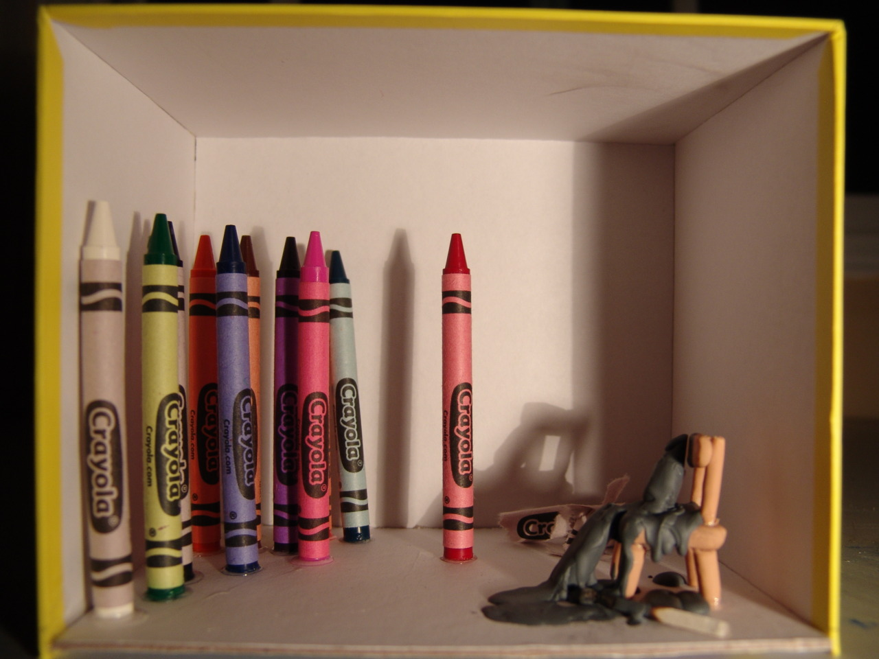 "audacityplayhouse:  Painted a crayon still life. First photo is the actual still life, bottom is painting.  Crayola Crayon Murder/Suicide, 2011. 36"" x 42"", acrylic on canvas."
