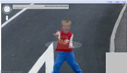 Trolling Google street view Judging from the placement of his feet, there may have even been some pelvic thrusts going on there. Well done, kid.