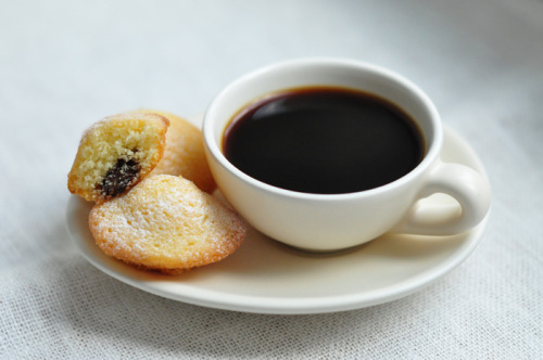 Nutella Stuffed Madeleines with Coffee