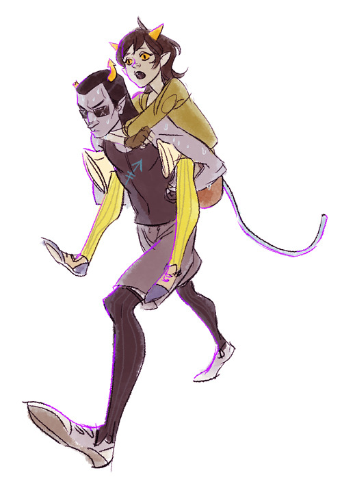 milkmanner:  Anonymous asked:   equius<>nepeta?  Get those towels ready—it's gonna be a sweaty piggyback ride