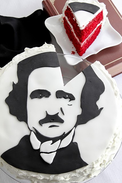 thecakebar:  Edgar Allan Poe Waldorf Astoria Red Velvet! Yield: one 2 layer 8-9-inch cake             This is amazing! Allan Poe fans stand up!!!! I wonder what other characters this bakery can make! ENJOY! (which one of you is going to try and make this? teehee…)                                                                   Cake:1/2 cup unsalted butter, softened1 1/2 cups granulated sugar2 large eggs1 teaspoon vanilla extract2 oz. liquid red food coloring2 tablespoons cocoa powder2 1/2 cups all purpose flour, sifted1 teaspoon baking powder1 teaspoon salt1 cup buttermilk1 teaspoon baking soda1 teaspoon white vinegar Design Instructions and Recipe Here!