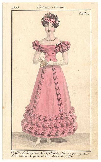 Journal des Dames et des Modes, 1823. Pretty, pretty!  Love the lines of that trim!