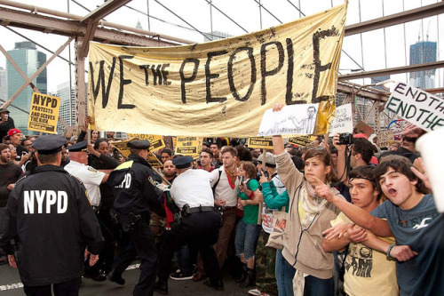 swirlingsurreality:  Occupy Wall Street October 1st by Adrian Kinloch on Flickr.