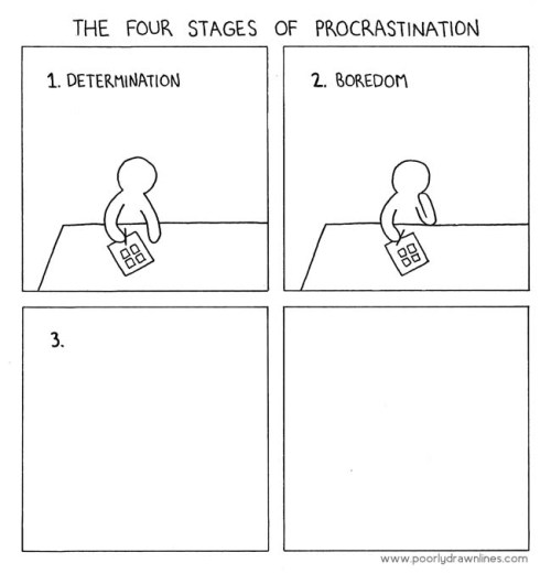 ianbrooks:  The Four Stages of Procrastination from Poorly Drawn Lines Knowing me, I wouldnt even have bothered to draw the fourth s