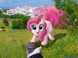 ask-darkshadow:  [What will I do if I meet Pinkie IRL? I give her a cupcake.]