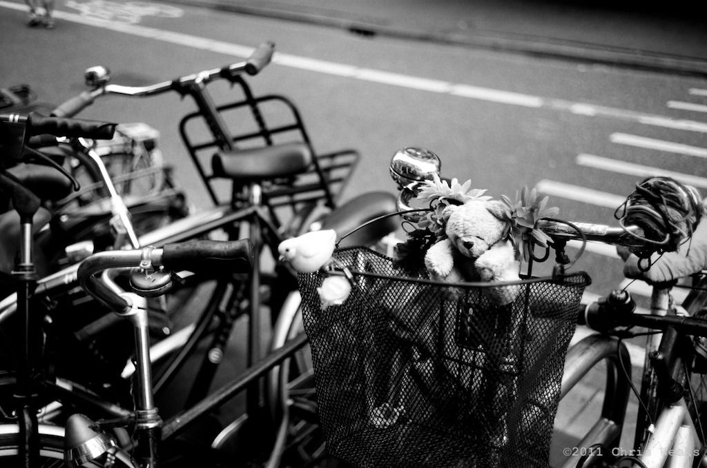 Amsterdam, Holland:  July, 2011.   Another study of bikes in Amsterdam.  Leica MP.  35 'lux.  Lab scan »> Aperture.  (Tri-X during the night and Agfa APX 25 with ND during the day but not exact)