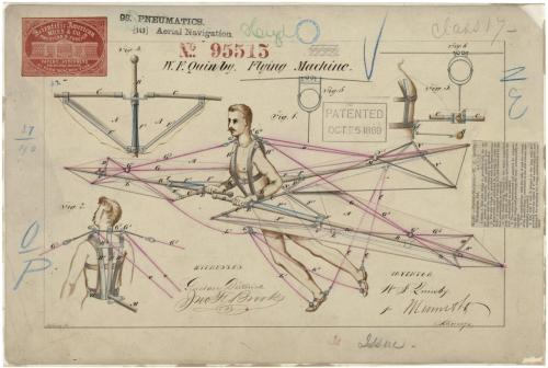 "todaysdocument:  October 5, 1869 - This is the printed patent drawing for a ""Flying Machine"" invented by W. F. Quinby.  Badass- Someone do this so we can get rid of the MTA"