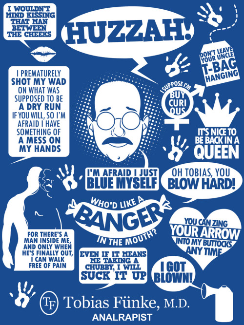tomtrager:  15 Tobias Fünke quotes in celebration of Arrested Development's return to television! Huzzah! Available as a shirt at: http://www.redbubble.com/people/tomtrager/t-shirts/7844356-tobias-f-nke-quotes