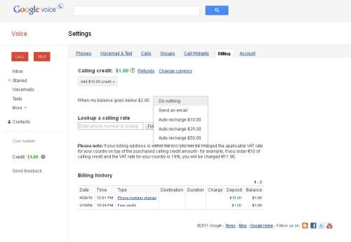 Google Voice - Can either send you an email or auto-recharge when your balance gets below $2.00.