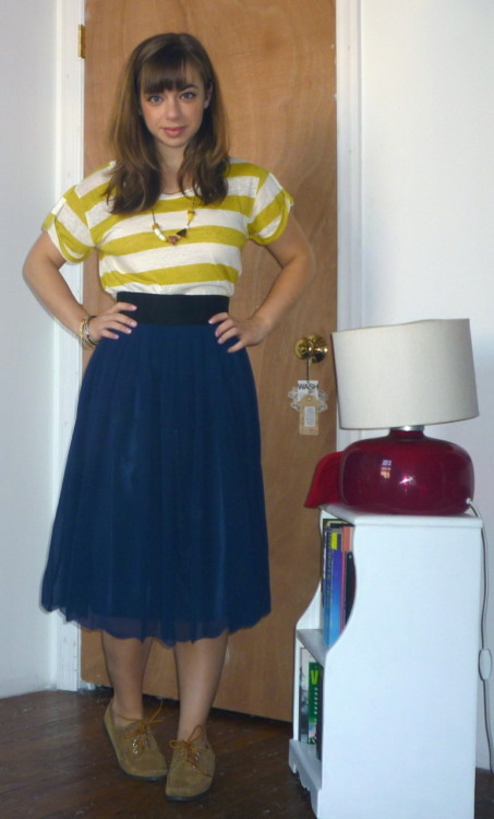 Striped Blouse: Madewell's $35 on sale, Pleated Skirt: Shop Ruche $40, Mocs: LL Bean Signature Collection received as Christmas gift, Necklace: Madewell's $20 on sale, Bracelets: vintage via my mom Before we get into the cold weather outfits, here's a little something I wore last week.  Apologies for the lack of outfit posts! My best friend got married this past weekend! So I have been running around fulfilling my bridesmaid duties. I am happy to report that she looked beautiful and great times were had by all at the festivities.  In other news, prepare yourselves to see this skirt A LOT. I am in love with the 50s silhouette… and it goes with EVERYTHING in my wardrobe.  Total cost of the outfit = $95 Remaining budget for the month of October = $100