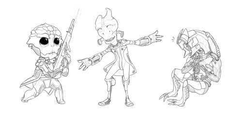 mangalho:  Some of my favourites from Mass Effect 2. I was also going to draw Garrus and FemShep, but I lost motivation DERP. I wonder if Legion are self conscious about the hole on their chest. who knew mordin could sing roflmao i shat bricks