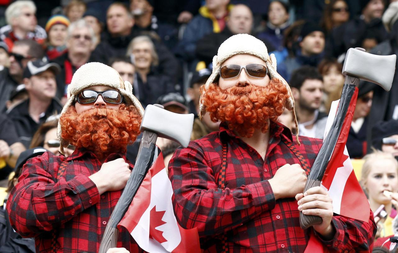 nationalpostsports:  Canadians sporting the latest fashion at the Rugby World Cup. Canada lost to New Zealand on Saturday night. Jacky Naegelen/Reuters