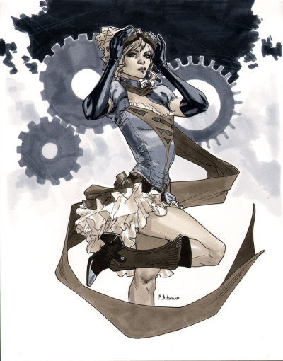 Steampunk Supergirl  I'm mostly over steampunk, but, still, this is kind of cute.  Impractical as all-get-out, but cute.