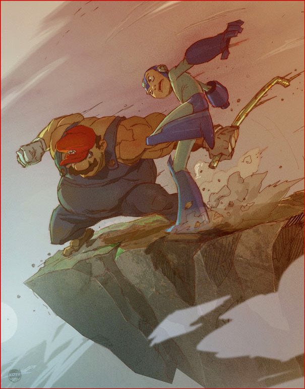 Ilustración | Mario vs Megaman | Reblogged From >  justinrampage:  Two Nintendo marvels fight for their lives in this excellent piece of fan art by Coran Stone. Who do you choose as the champion? Related Rampages: Game Stops Now | The Big Guns (More) The Best of all Time by Coran Stone (deviantART) (CGHUB) (Twitter)