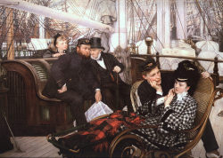 bukarin:  The Last Evening - James Tissot 1873  Guildhall Art Gallery, London   Tissot's study for this painting reveals his tender attention to texture, pattern, and gesture. Her gaze and hands seem to be caught in a moment of quiet thought. What is she thinking about as the sailor she loves is about to depart out to sea? Is she fearing the months to come? Perhaps the two just shared a knowing glance.  Young Woman in a Rocking Chair, about 1873, Jacques Joseph Tissot, brush with gouache and watercolor, over graphite on brown wove laid paper. The J. Paul Getty Museum