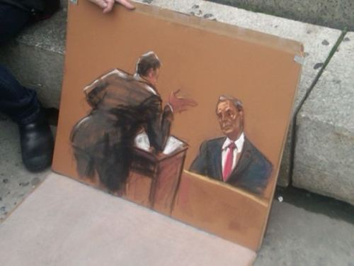 Courtroom sketch of @MikeBloomberg testifying in the Haggerty trial. (via Azi)