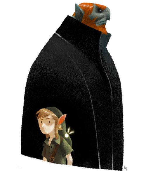 justinrampage:  Ganon casts a large shadow over the Hyrule hero Link in this excellent stylized fan art by Romain Mennetrier. Let's Go To Hyrule by Romain Mennetrier (CGHUB) (Twitter) Via: Gorilla Artfare