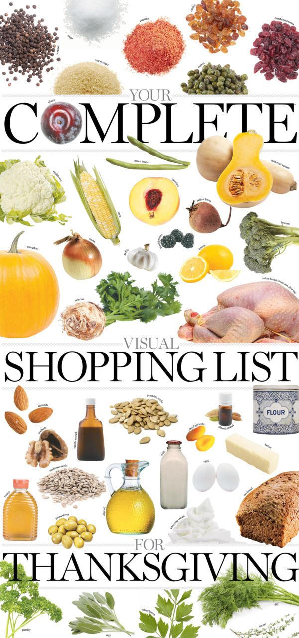 Your complete visual shopping list for ThanksgivingIn the mood for something new? Try Bonnie Stern's Nordic Thanksgiving  recipes below! They are interesting twists on classic dishes. In the  mood for the traditional turkey-stuffing-mashed potatoes lineup instead?  Click here to find Bonnie's guide to the bird, sides and all the usual fixings.To our U.S. friends, we celebrate Thanksgiving in October (Oct. 10 this year), so you'll just have to favourite this later.