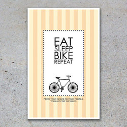 """From your gears to your pedals, you live for the race..""This poster series is inspired by love for cycling and midcentury design. The colors and textures are inspired by Parisian sensibilities. This is the first in a limited set of art prints. Each comes with an original quote about the thrill of bike culture.  FROM THE ARTIST Doctor Who Poster - The God Complex Part One (brandwich.wordpress.com) Hall & Oats Custom Anniversary Poster (brandwich.wordpress.com)"