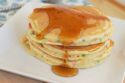 s1rak1the1raq1:  sugarandsaltohmy:  Cake Batter Pancakes (by fakeginger)  I'm not sure what a cake batter pancake is… but it looks/ sounds soooooooooooooo good!!!!!!!!!!!!