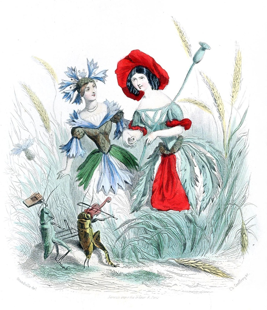 oldbookillustrations:  Cornflower and poppy. Jean-Jacques Grandville, from Les fleurs animées (animate flowers), collective work, Paris, 1867. (Source: archive.org)