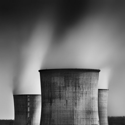 black-and-white:  nuclear power station | by Durdenyr