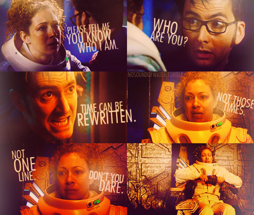 """I think [the Tenth Doctor] understands that [River] could be the love of his life. He understands that, even if he doesn't feel it, and that must be a terrifying thing."" — Euros Lyn, Doctor Who Confidential"