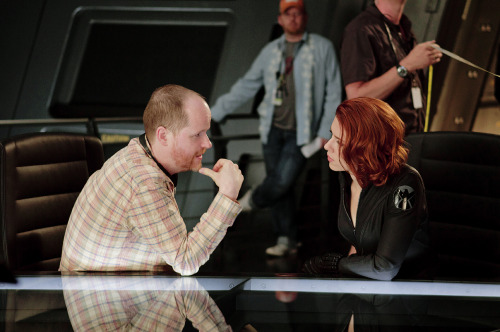 fuckyeahdirectors:  Joss Whedon and Scarlett Johansson on the set of The Avengers (2012).