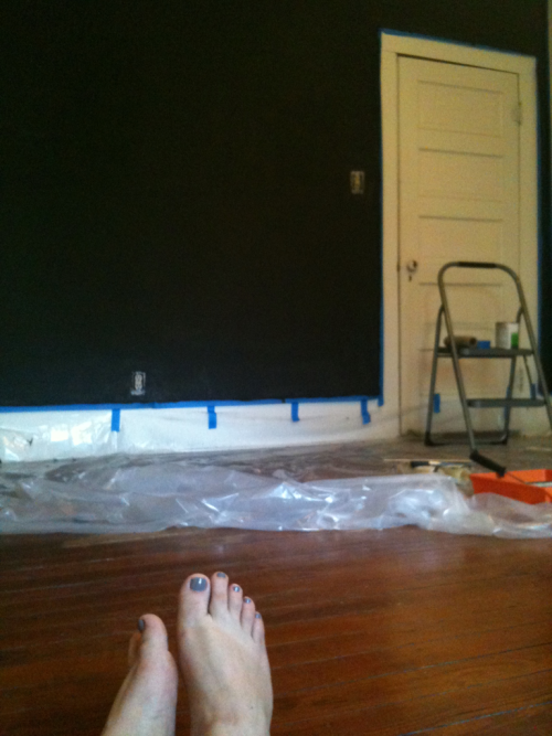 Daddy duty for the week: chalkboard wall. 4 months to go!