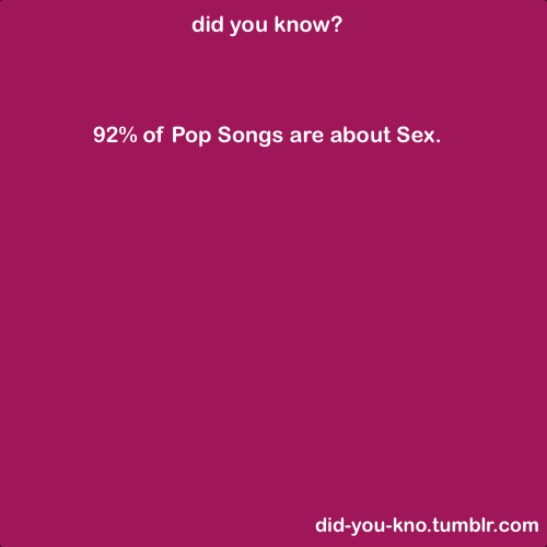 "did-you-kno:  A recent article in Evolutionary Psychology — ""Songs as a Medium for Embedded Reproductive Messages"" (PDF) — suggests how songs convey sexual messages and references."
