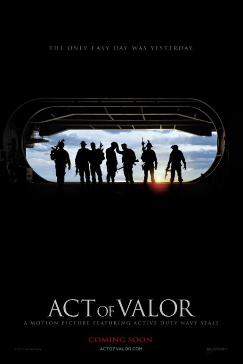 Poster Debut for Non-Osama Bin Laden Navy SEAL Film 'Act of Valor' As Kathryn Bigelow deals with wacky congressmen trying to stop her Osama Bin Laden/SEAL Team Six movie, one studio is set to launch their own SEAL flick. Relativity's 'Act of Valor,' which features real footage of active Navy SEALs, follows an elite team of soliders who attempt to stop a deadly terrorist attack against the United States. The plot takes the SEAL team from Chechnya to the Philippines to Somalia to Mexico.