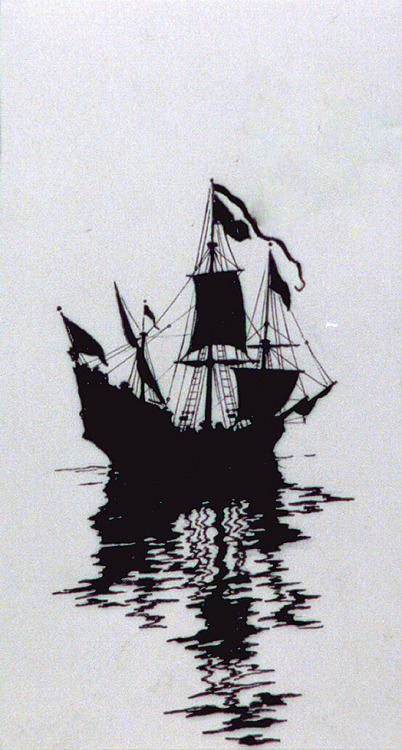 Cool black and white pirate ship