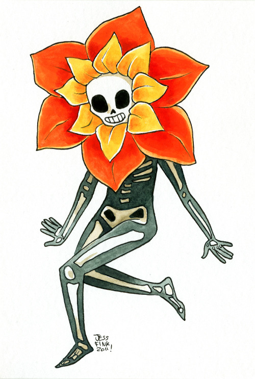 Caléndula A new painting for the Day of the Dead and Halloween! I am getting excited about fall. This painting is now available in my Etsy shop, which I just updated with a whole bunch of fun things! http://www.etsy.com/shop/JessicaFink