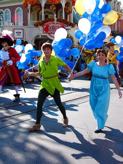 40th Anniversary Procession - Peter Pan, Wendy, and Captain Hook by disneylori on Flickr.