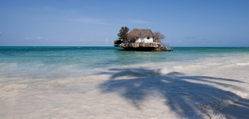 The Rock Restaurant Zanzibar, perched on a rock in the middle of the Indian Ocean