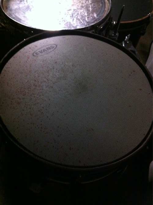 Derek Bjurman's bloody snare head! He bust his hands open every show, haha. BEAST!