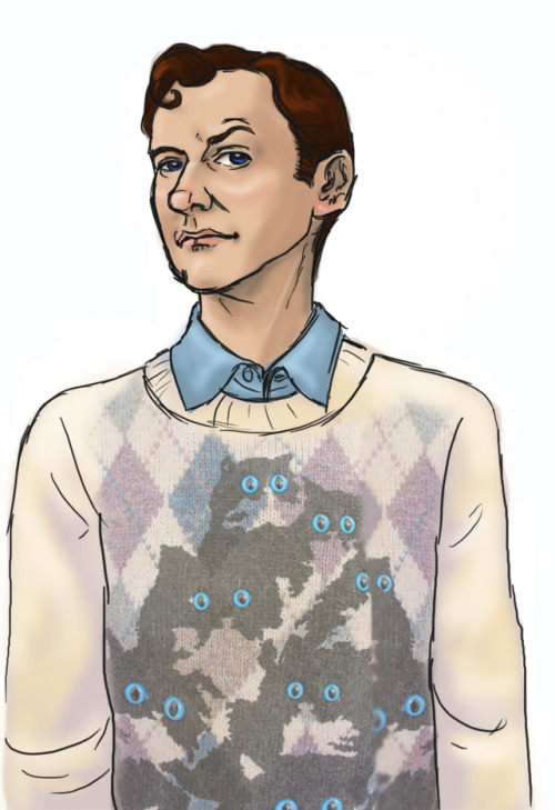 "justicemuffins:  wastingyourgum:  macpye:  Okay, so everyone puts this jumper on John, but I'm not very good at drawing John, so I put it on Mycroft. The caption: ""Yes, Greg. This is one of those jumpers Mother gets Sherlock and me for Christmas. This is the only time you'll see it, consider yourself lucky; if you'd been anyone else, I'd have had to cut out your tongue after seeing me in this.""  LMAO!  Mummy is the Mrs. Weasley of Sherlock. :U But srsly. D'awwwwww Mycroft."