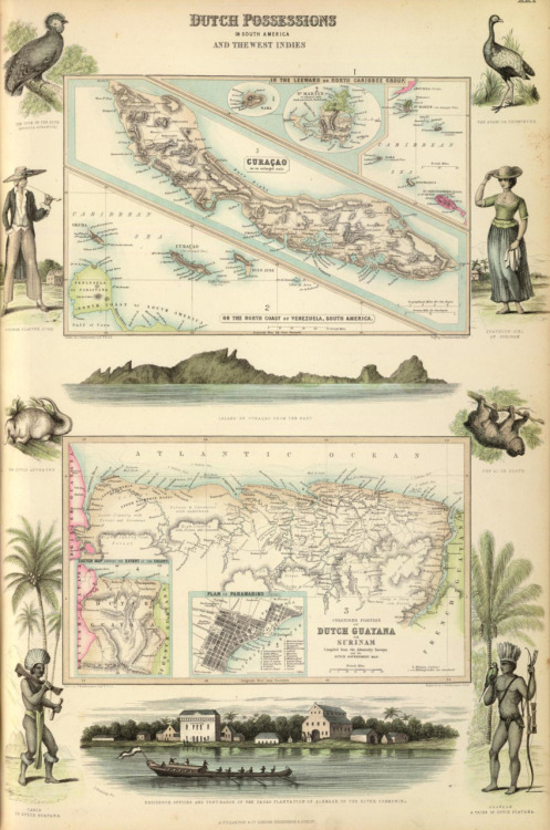 cartographymaps:  A. Fullarton & Co., 1872. Dutch Possessions in South America & the West Indies.  My dad's side of the family is from the island pictured at top