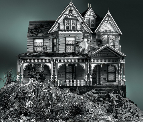 timsondrup:  Spooky Abandoned Victorian Houses Made from LEGO Bricks