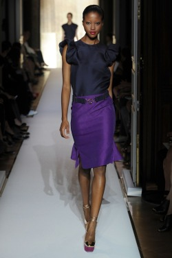glamour:  Navy, violet and a very DIY-able belt at YSL.