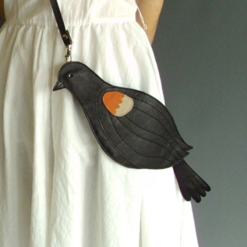 Leather Red Winged Blackbird Bag Clutch - Broundoor via SupaKid