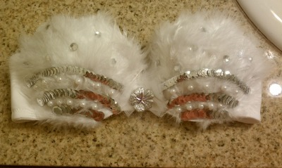 Custom Angel Bra for a customer's Halloween costume  more for sale on www.etsy.com/shop/artbygirl Don't forget the Coupon Code for 5% off your order:: HALLOWEEN2011