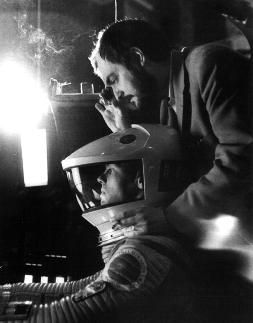 fuckjerry:  Stanley Kubrick on the set of A Space Odyssey