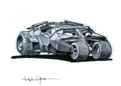allengladfelter:  Amy Mebberson all but INSISTED that I draw the Batmobiles in the World of Cars.  That's a pretty straightforward assignment, just draw the Batmobile and put some eyes on it.  Except that the Tumbler is a pretty difficult car to get right.  Okay then!  Tiime to go to the toy store!  Thanks, Amy, this one's for you.    DAMN RIGHT!! Most satisfactory, Allen! :)