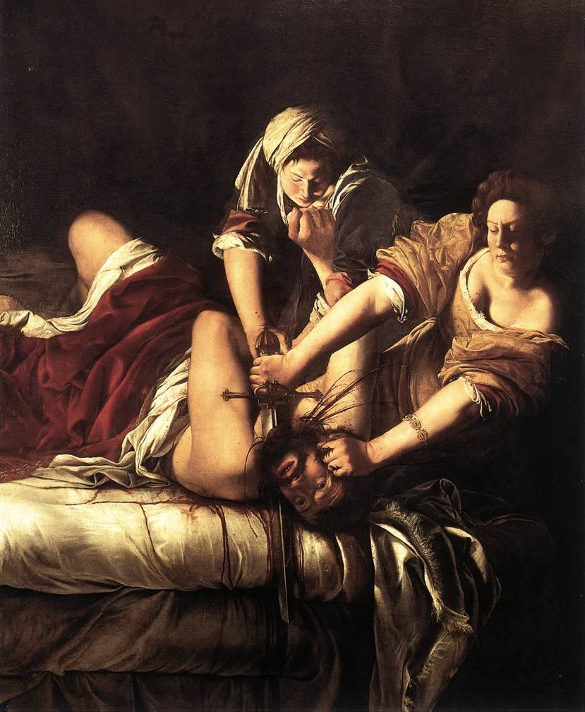 Artemisia Gentileschi, Judith Beheading Holofernes, ca. 1620 A feminist at heart, I just absolutely love this painting and the artist. Stop me if you know this already, but the beheading of Holofernes is a biblical story. I'm working from memory, so bear with me. Just outside Judith's city laid an army waiting till dawn to attack. Those in charge decided to put the fate of the city in the hands of God, because who were they to fight God's will? Judith dismayed at the choice of inaction, approached the men and offered to take matters into her own hands. She said whether she failed or succeeded, it would be the will of God. So with her maid she went to the enemies camp, and seduced Holofernes (the top dog in charge). She encouraged him to drink, and to drink heavily so when at last he passed out from too much drink, Judith and her maid beheaded the man placing his head on a pike to be found in the morning. The army was in confusion and chaos, and the story goes on to Judith saving the day. The painting its self I believe is one of three. There is so much turmoil and emotion found in this painting. The dramatic contrast of light and shadow, the blood and gore captured in mid-action. All of this painted by a woman in Italy during the 1600's. Artemisia is one of the first recognized female artists. Looking at the painting I absolutely love the portrayal of Judith as a strong and thick woman. Artemisia's own story is a sad and tormented one that I find shows within her work. Artemisia father was a well known artist and he employed a man to be Artemisia's tutor. The man raped her, and her father brought the charges to court where the trial was largely public. Artemisia's father won the case, which was rarely heard of during that time (for a woman to win in court for rape) but Artemisia was tortured and physically examined to make sure she was telling the truth, while her attacker was only questioned and thrown into prison for a short period of time(months). Most of her paintings feature women in acts of strength or seeking revenge. She's an artist with little comparison.